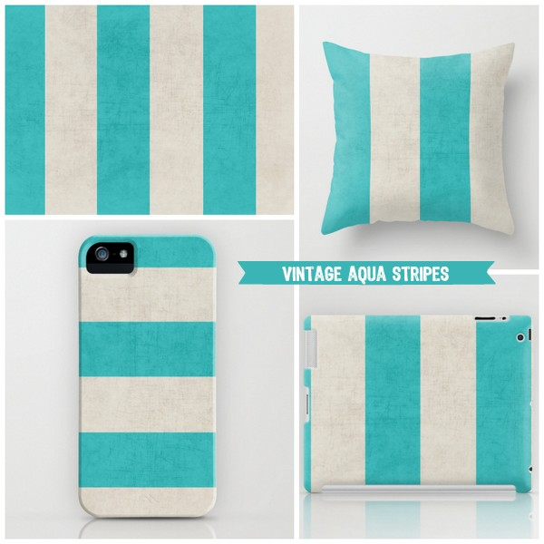 vintage aqua stripes