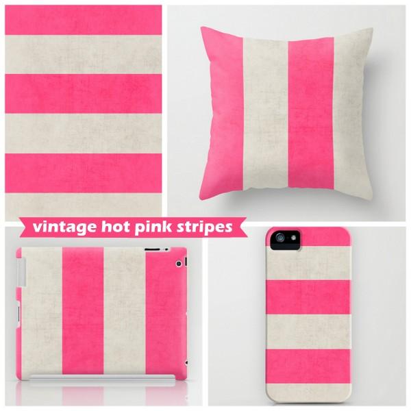 vintage hot pink stripes