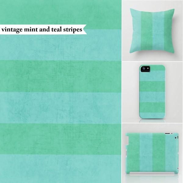 vintage mint and teal stripes