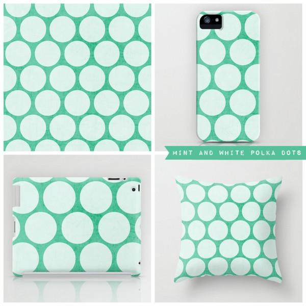 mint and white polka dots