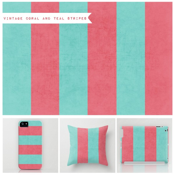 vintage coral and teal stripes