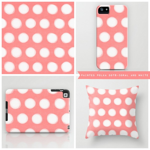 painted polka dots- coral and white