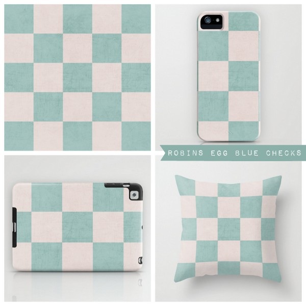 robins egg blue checks