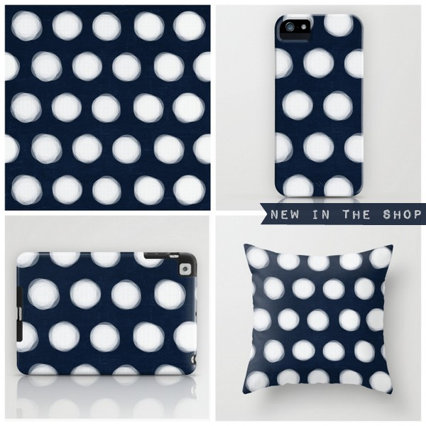 painted polka dots- navy and white