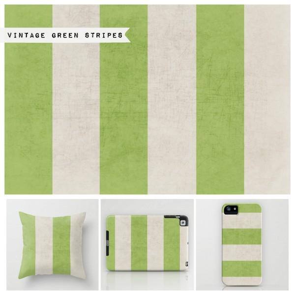 vintage green stripes