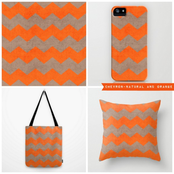 chevron - natural and orange