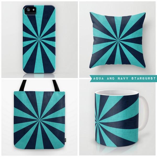 aqua and navy starburst