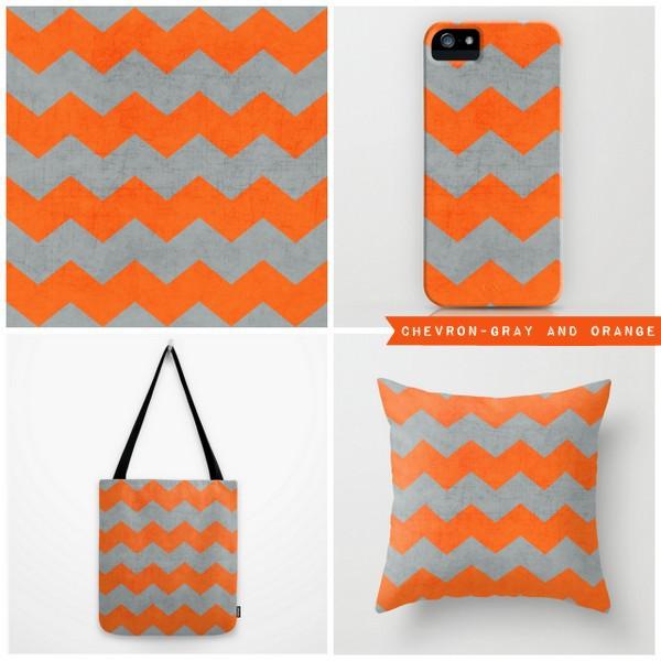 chevron - gray and orange