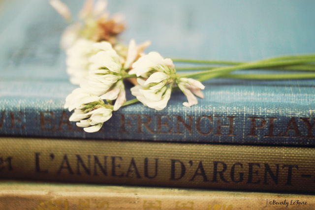 vintage books and clovers