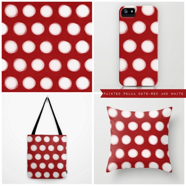 painted polka dots - red and white