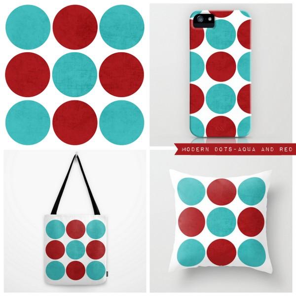 modern dots - aqua and red