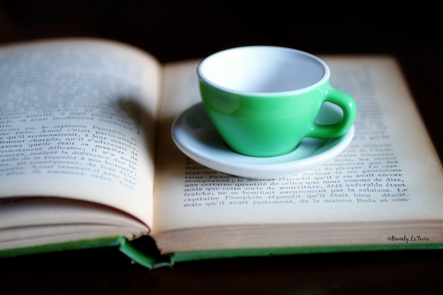 vintage book and tea cup