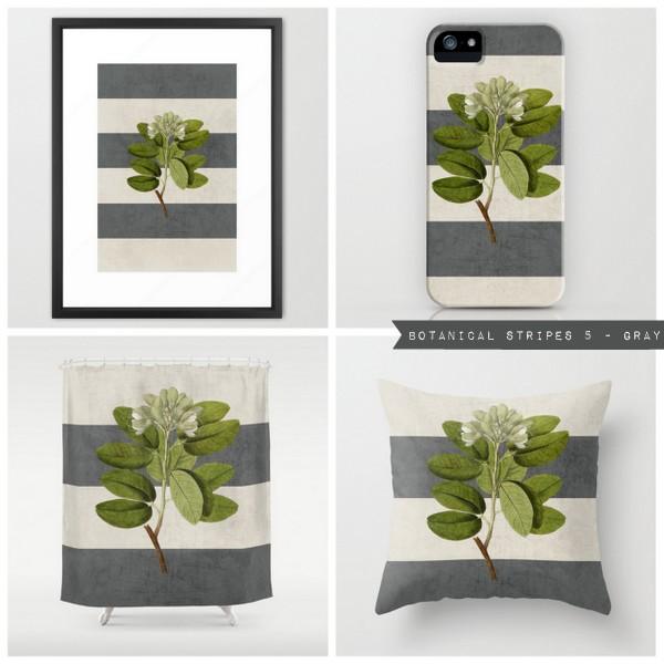 botanical stripes 5 - gray