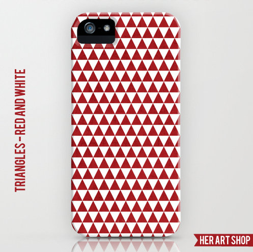 triangles - red and white cell phone