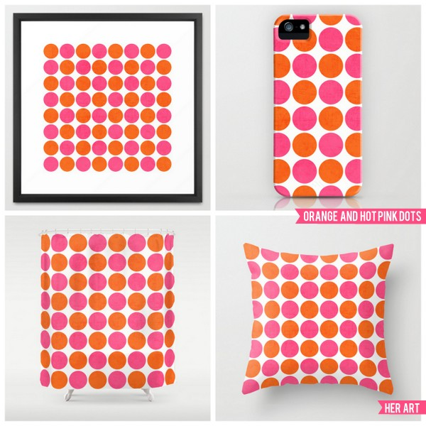 orange and hot pink dots