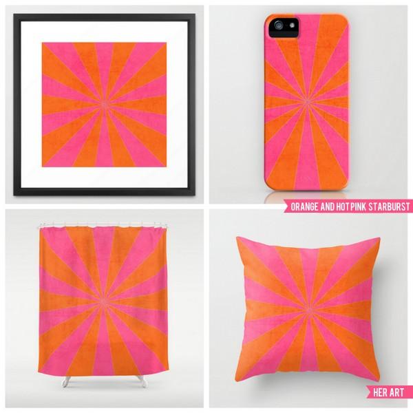 orange and hot pink starburst