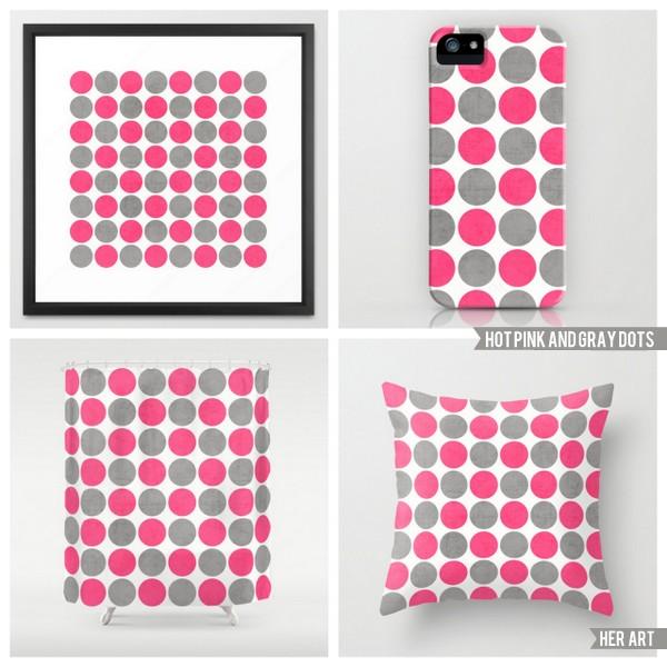 hot pink and gray dots