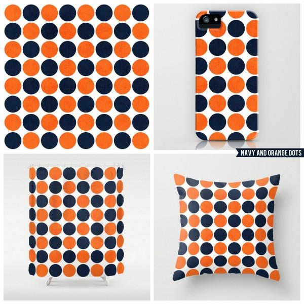 navy and orange dots