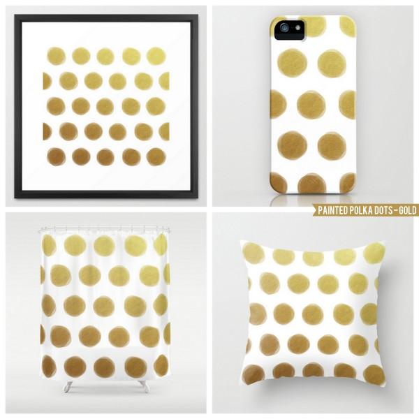 painted polka dots - gold