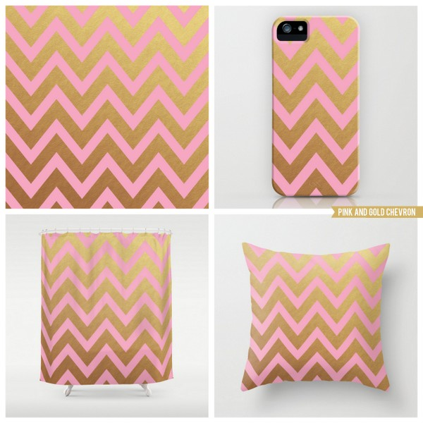 pink and gold chevron
