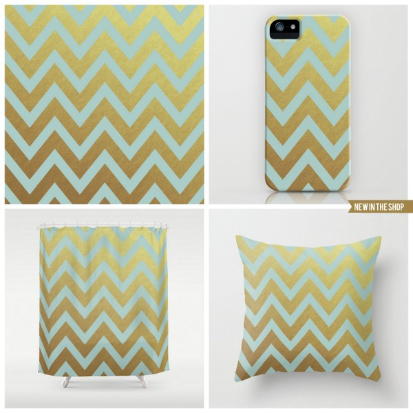 robins egg blue and gold chevron