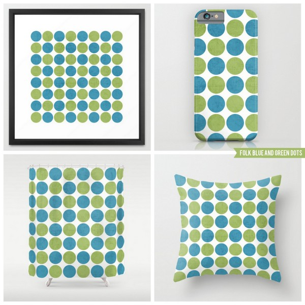 folk blue and green dots