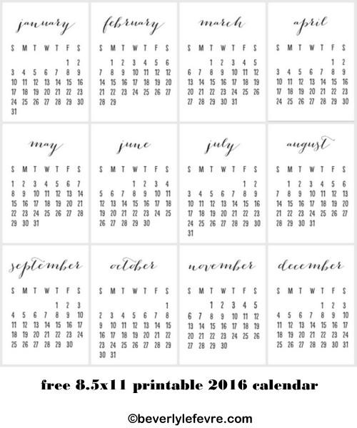 8.5x11 printable 206 calendar