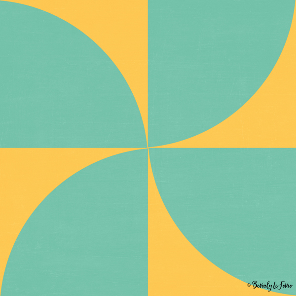 mod petals - teal and yellow modern print