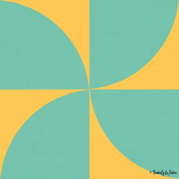 mod petals - teal and yellow modern print