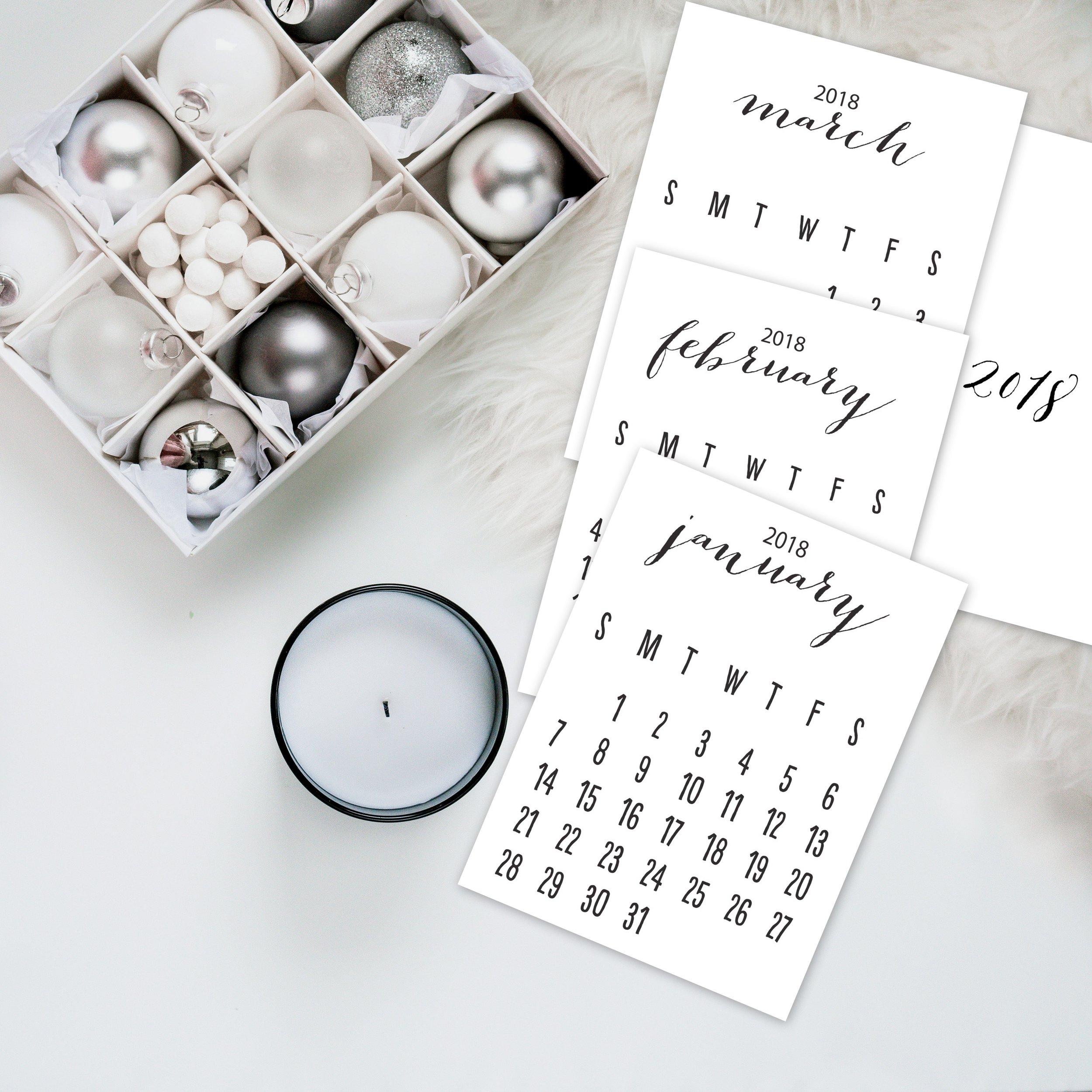free 2018 printable calendar @beverlylefevre.com