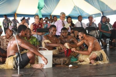 Yaqona ceremony by the Natokowaqa PRB youth group.