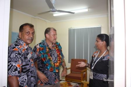 Mrs Vijaynti Karan Showing the counseling rooms to Mr Glenn Miles together with Mr Vishnu Deo.
