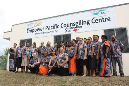 Staff of Empower Pacific together with Mr Vishnu Deo and Mr Glenn Miles.