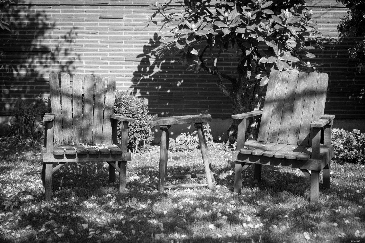 Two Old Chairs | 365 Project | May 9th, 2013 | 35mm, f/2.5, ISO 100, 1/1000, composed in B&W, converted from RAW in Lightroom
