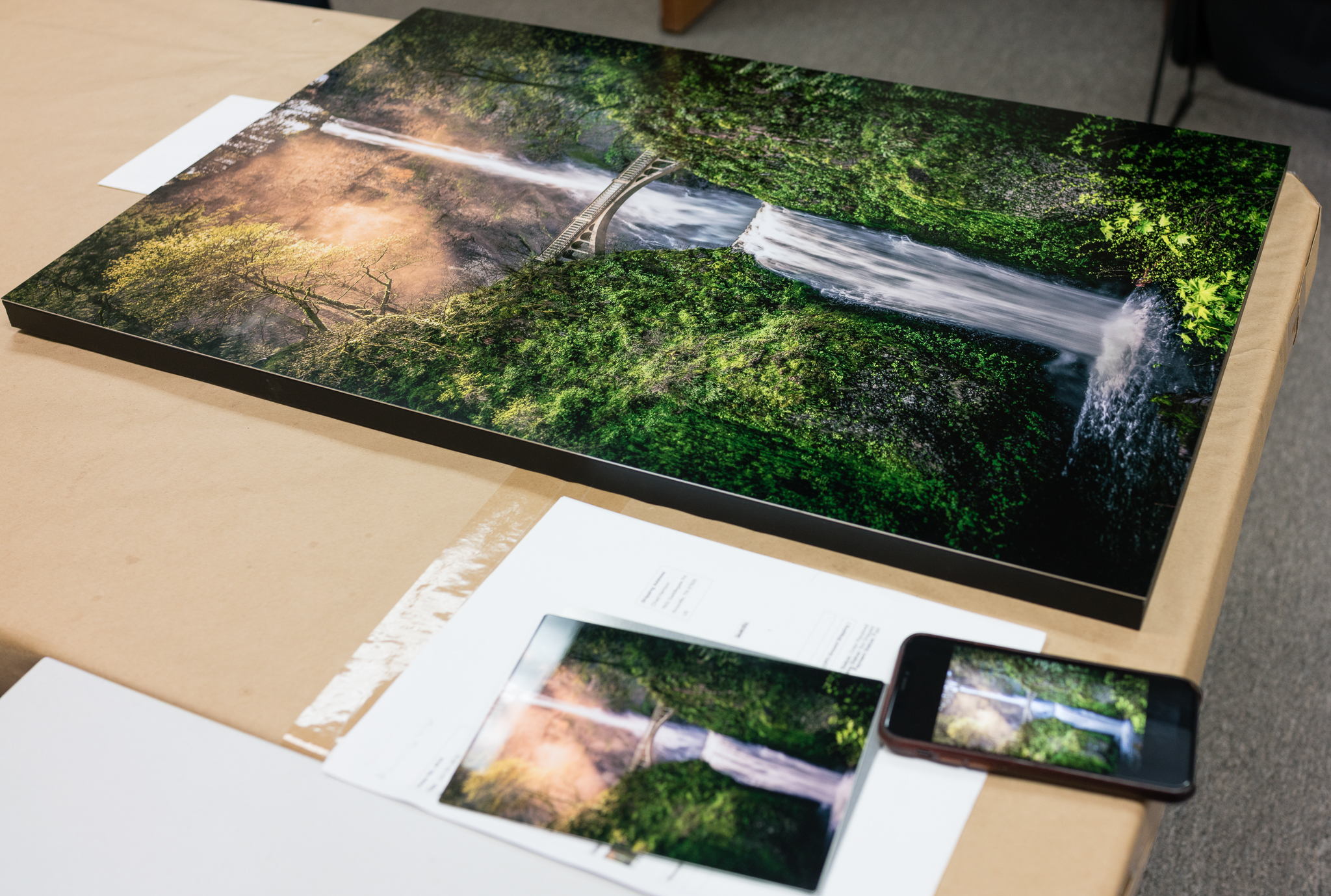 "Flush Mount 30x20"" Metal print ready to ship. Shown alongside the 5x7""test print and an iPhone X for scale"