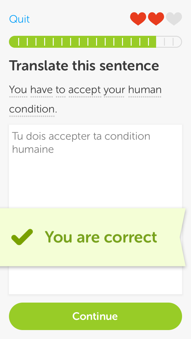 Duolingo telling me what my problem is.