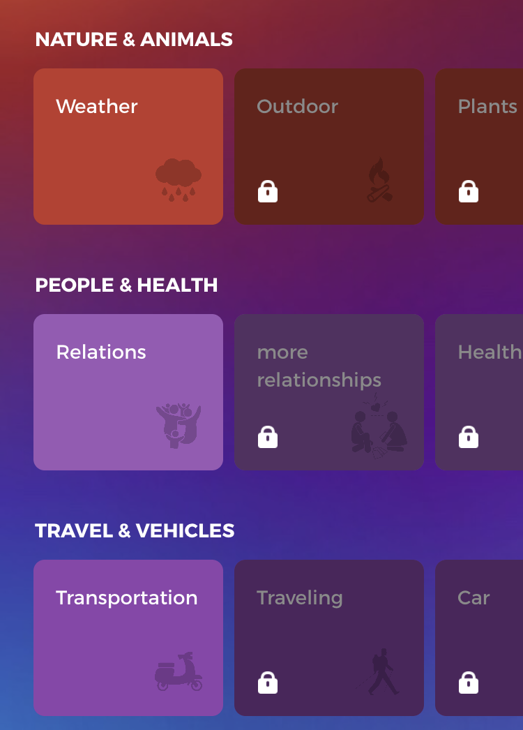 Different themes to choose in Drops app