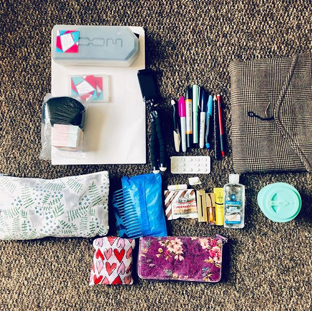 Everybody loves a #packing flatlay so here's a snapshot of what I'm taking on my travels. Just look how much #thefluentshow gear adds up!  I'm going to spend this coming week at @podcastmovement in Orlando, FL and then rest for a few days and fulfil a dream of travelling by 🚆 in the USA. #travelplans  Then in the next week, I'm making my way to Montreal to meet lots of you at #langfest! I'm packing Fluent Show stickers for your notebooks and you can also see I'm taking my portable mic #zoomh5  I'm not an overly confident packer. Are you good at packing? Tell me your must-pack items in the comments!  #overpack #underpack #flatlay