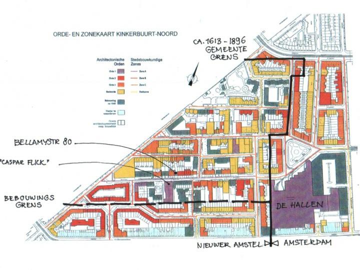 Kaart van het historische deel van de Bellamybuurt, onderdeel van de Kinkerbuurt Noord te Amsterdam.