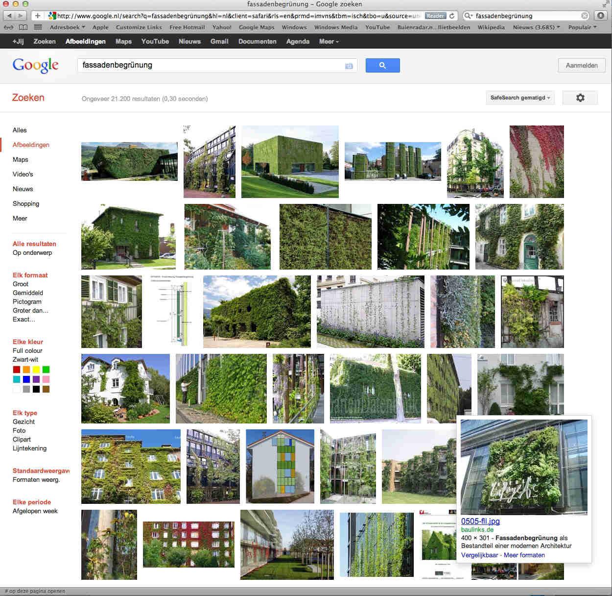 Op zoek naar referentiebeelden van groene gevels. Aangezien men daar in Duits talige gebieden veel verder mee is, is er gezocht onder het trefwoord 'fassadenbegrünung'.