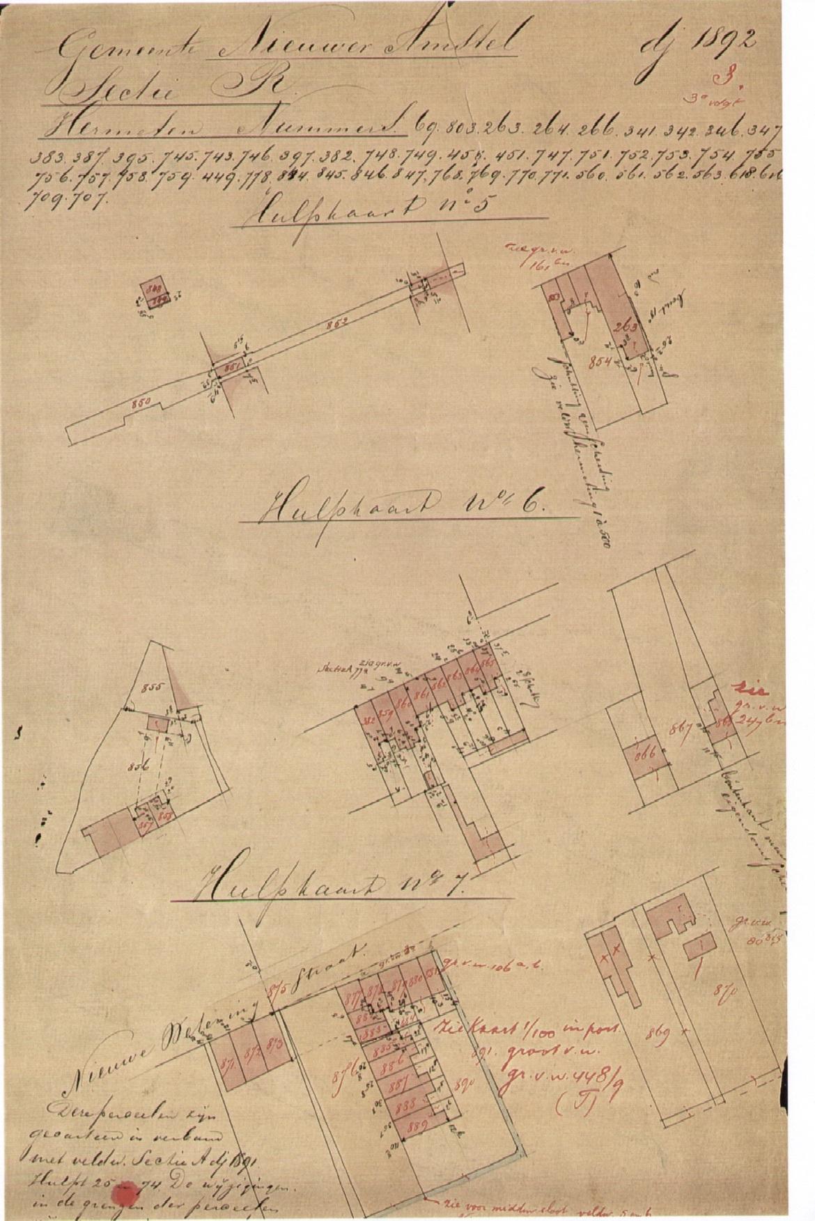 Hulpkaart no. 6 kadaster - Gemeente Nieuwer Amstel 1892 - met in het midden de hernummering van de percelen aan de Wenslauerstraat
