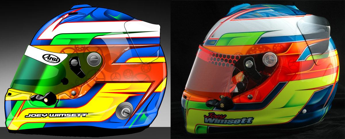 Helmet for Joey Wimsett. Computer rendering on the left, the real helmet on the right.