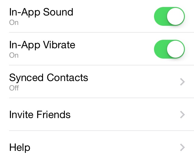 """You can leave """"Synced Contacts"""" off."""