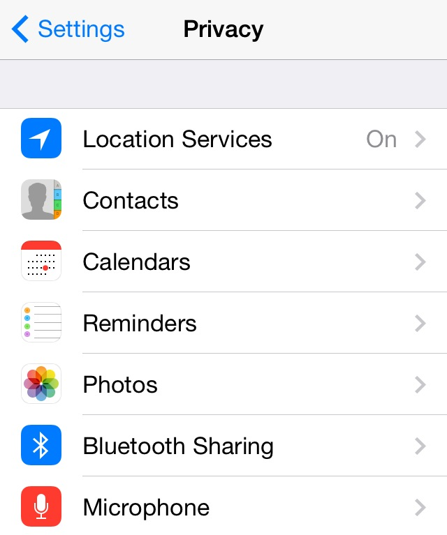 Settings > Privacy on your iPhone