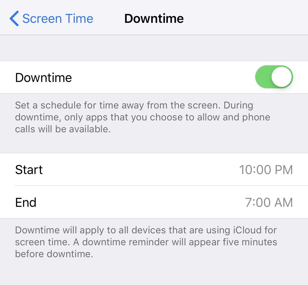Setting Downtime will only allow the apps you've specified to be opened during this span.