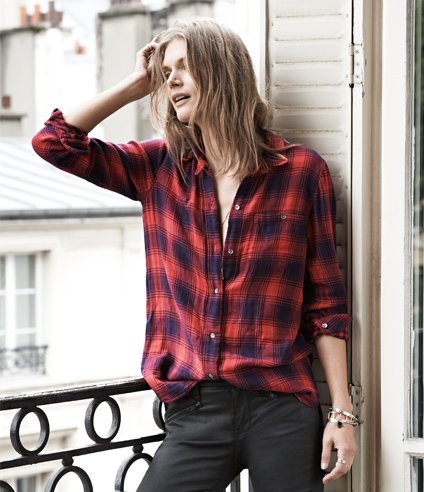 Madewell outfit - flannel and coated denim.png