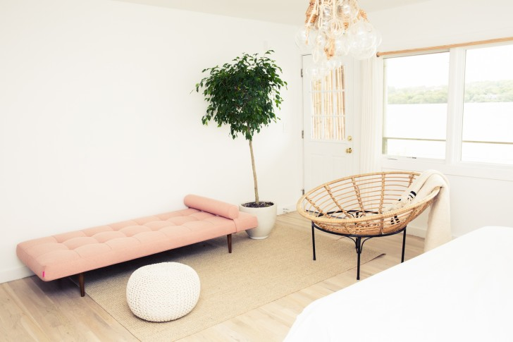 pink couch and tree