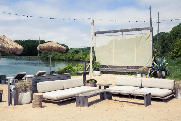 outdoor movie viewing area