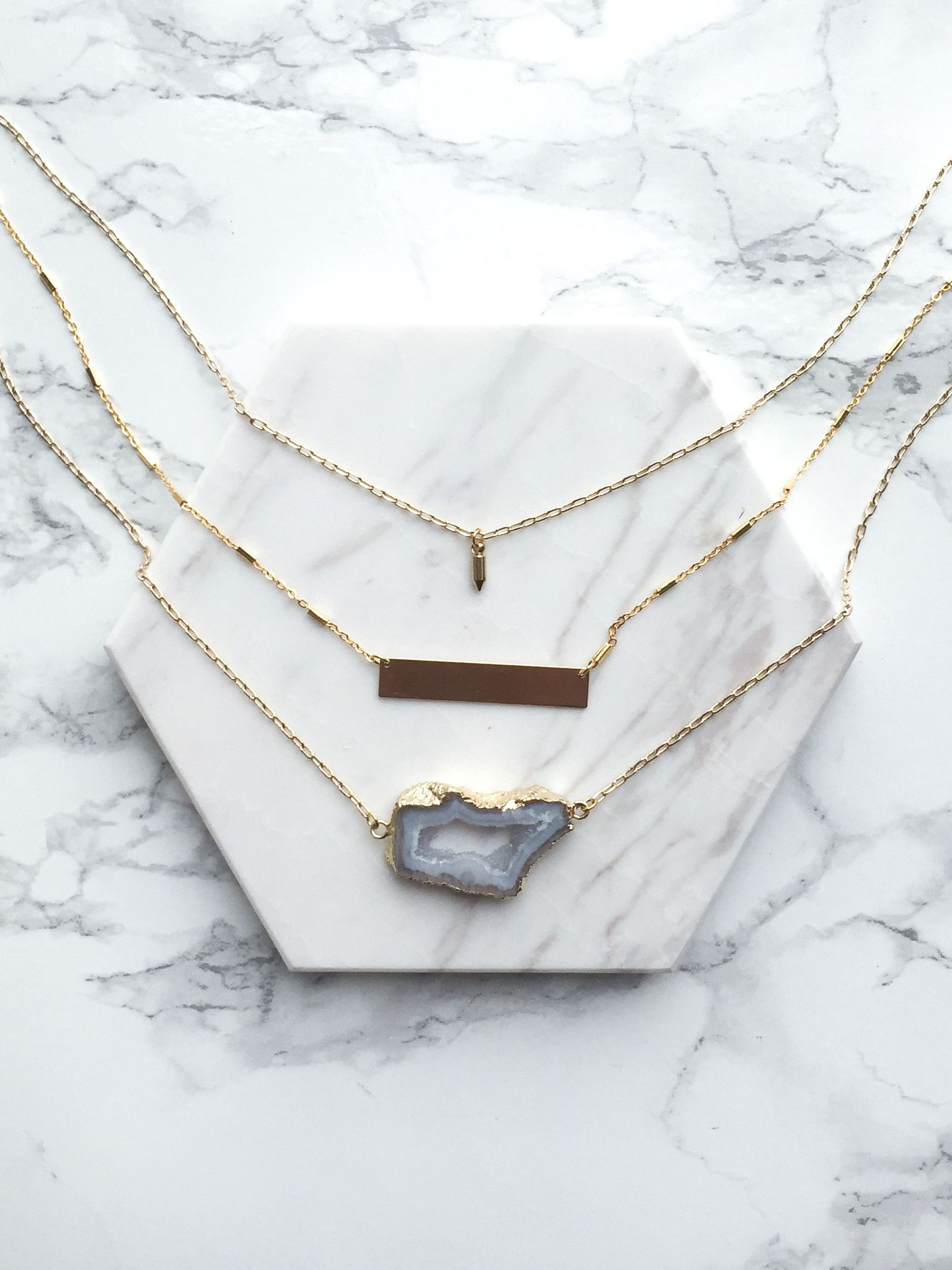 grey sliced agate layered necklace