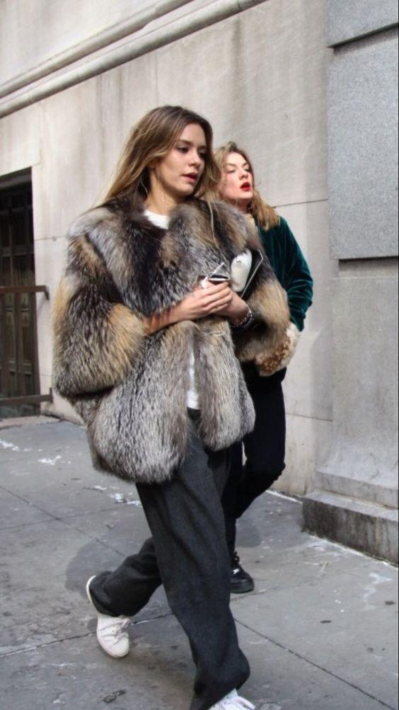 grey fur jacket
